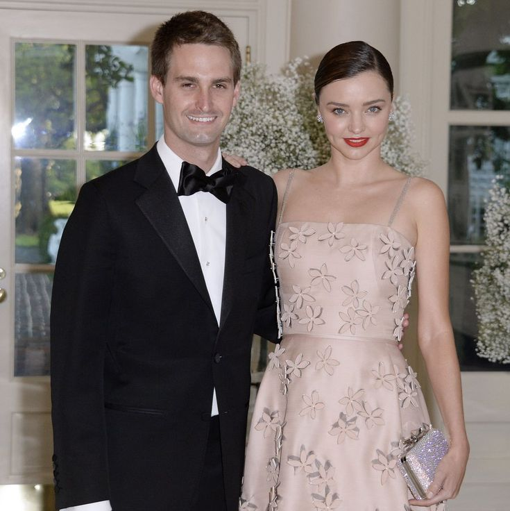 Miranda Kerr and Evan Spiegel  The supermodel and the Snapchat founder married in a private ceremony at their home in Brentwood, California on May 27.   E! Online revealed that the affair was an intimate one, with just 50 guests. A source told E! the bride looked 'regal' and like a 'natural princess', and the wedding had a 'rustic chic' theme, with the house decorated with light pink roses.