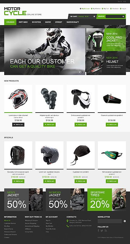 Template 46436 - Motorcycle Store Responsive Magento Template with Bootstrap, Homepage Slider, Image Zoom, Grid and List Views