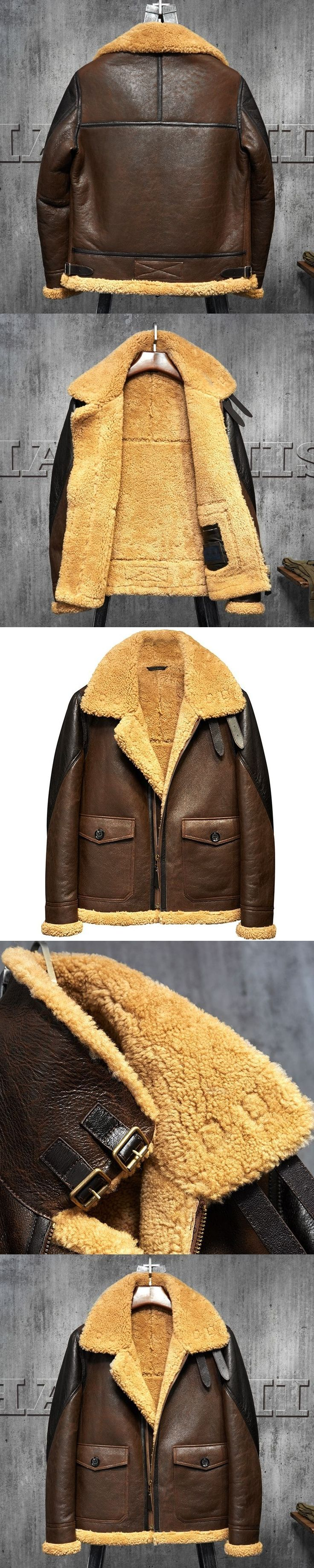Light Brown B3 Men's Shearling Leather Jacket Original Flying Jacket Men's Fur Coat Pilots Coat