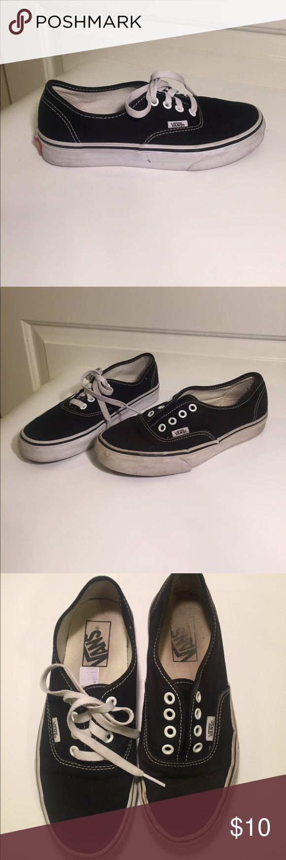 Vans Authentic Black Size 5. Vans Authentic Black Size 5.  Please note, shoes show wear and are missing shoe lace on left shoe. Vans Shoes Sneakers