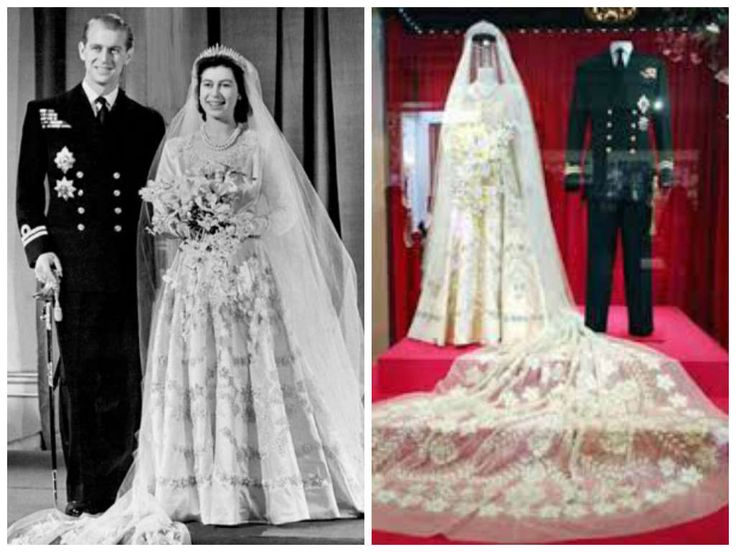 20/11/1947 Elisabetta II di Windsor e il principe Filippo di Edimburgo. Abito disegnato da Norman Hartnell.