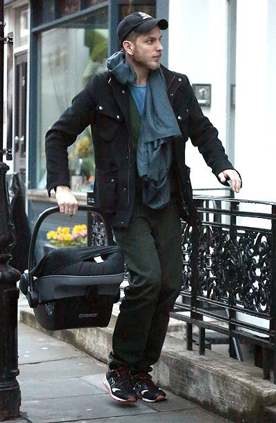 Andrea Casiraghi taking baby Sacha home from the hospital in London