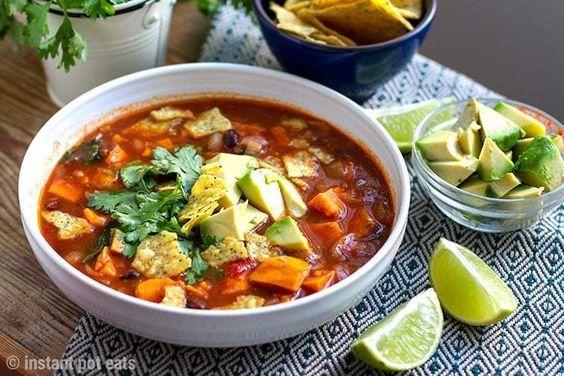 Instant Pot Tortilla Soup With Sweet Potatoes (Vegan, Vegetarian, Gluten-free)