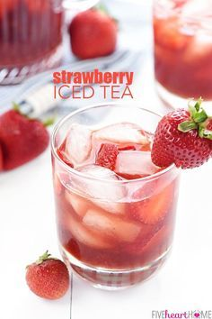 Strawberry Iced Tea ~ made with sweet, fresh, strawberry simple syrup for a refreshing summer…