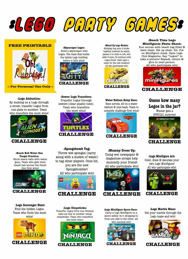 Oh! Rubbish!: :: Printables :: Outdoor Water Games :: LEGO THEMED BIRTHDAY PARTY GAMES that incorporates ALL LEGO THEMES!! It includes over 18 Lego Challenges that include: Lego DC Super Heroes, Lego City, Lego Cars, Lego Minifigures, Lego Creator, Lego Spongebob, Lego Duplo, Lego Monster Fighters, Lego Racers, Lego Games, Lego Master Builder Academy, Lego Ninjago, Lego Alien Conquest, Lego Hero Factory, Lego Teenage Mutant Ninja Turtles, Lego Star Wars, Lego Dino, Lego Galaxy Squad, and…