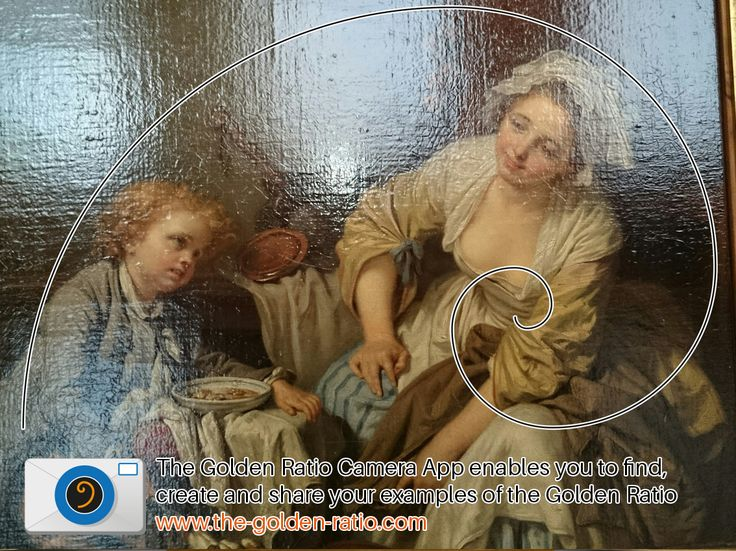 This Jean-Baptiste GREUZE painting called the l'Enfant gate (The Spoiled Child) fits the golden ratio swirl. It is interesting that the artist chose to start the focus of the golden ratio on the womens breast for a painting that depicts the feeding of a spoilt infant. This may have been planned or just pure coincidence.