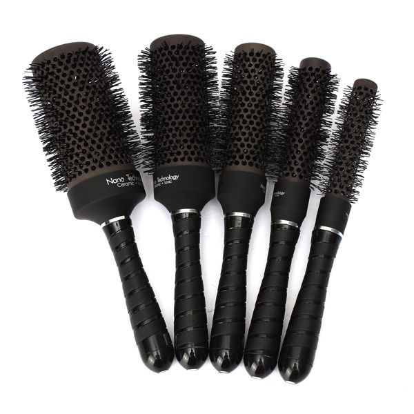 Black Barrel Iron <b>Round</b> Comb Convenient Curl Hair Style ...