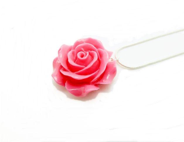 Rosen Halskette pink 3cm dunkel-rosa Blumenkette