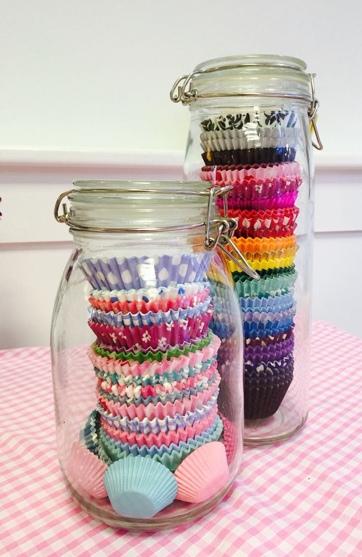 Cupcake Case Kilner Jar Decorations  for The Cake Room