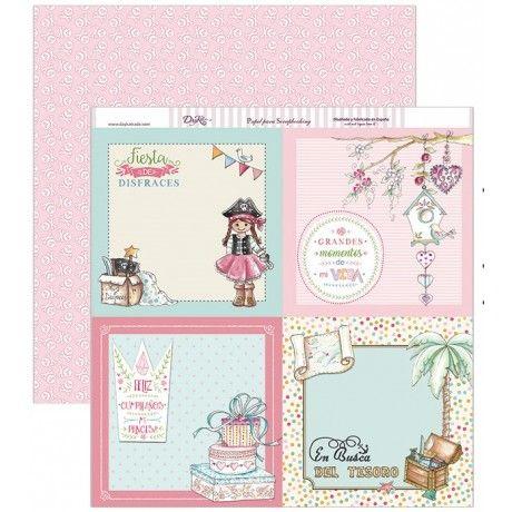 Papel scrapbook con temática de piratas en tonos rosas y calaveras blancas sobre fondo rosas por el revés #scrap #conideade #manualidades
