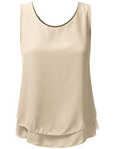 dc0f5ca5488d25 Loose Fit Tank Top Double Layered Chiffon Blouse Tank Tops For Women With  Plus Size (Made In USA)