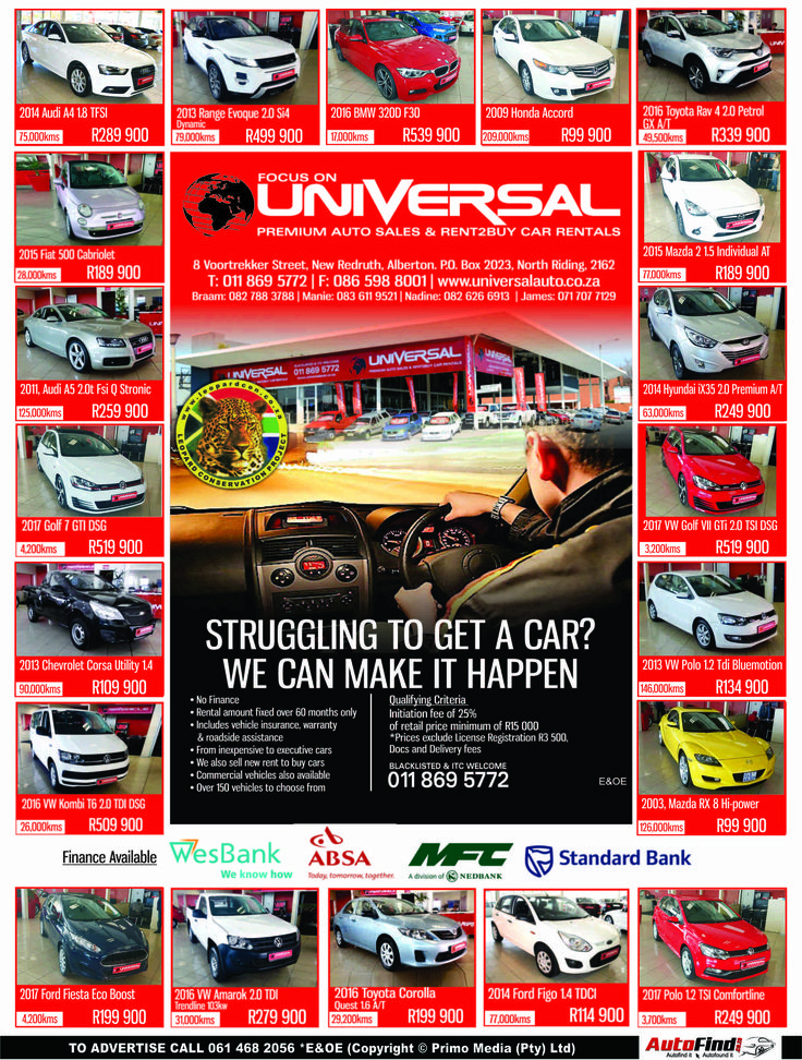 Universal Auto Alberton ! Dont miss out. Contact us on