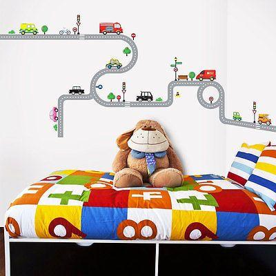 Stunning Details zu Wandsticker Wandpuzzle Wandtattoo Autobahn Stra en Autos Kinderzimmer Jungen