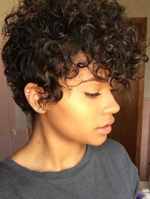 16.Pixie Cuts for Curly Hairs