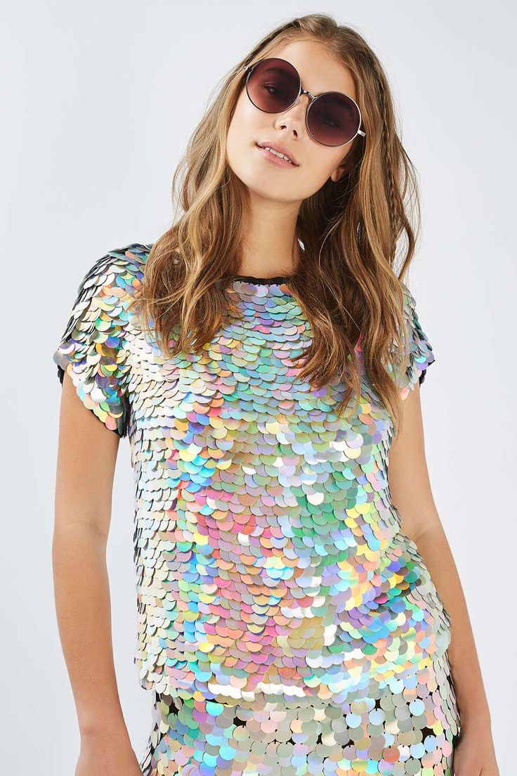 Hologram Sequin Tee by Rosa Bloom - Tops - Clothing - Topshop