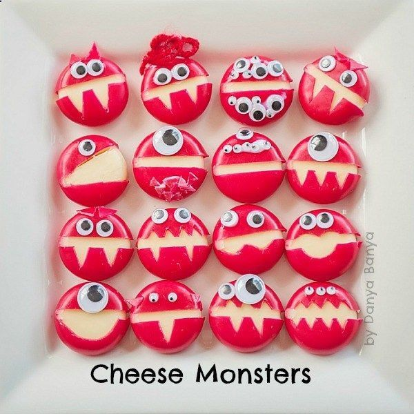Cheese Monsters - fun to make  fun to eat! A healthy kids Halloween party food or lunchbox surprise. #healthyeatingtoloseweightforkids #halloweenfoods