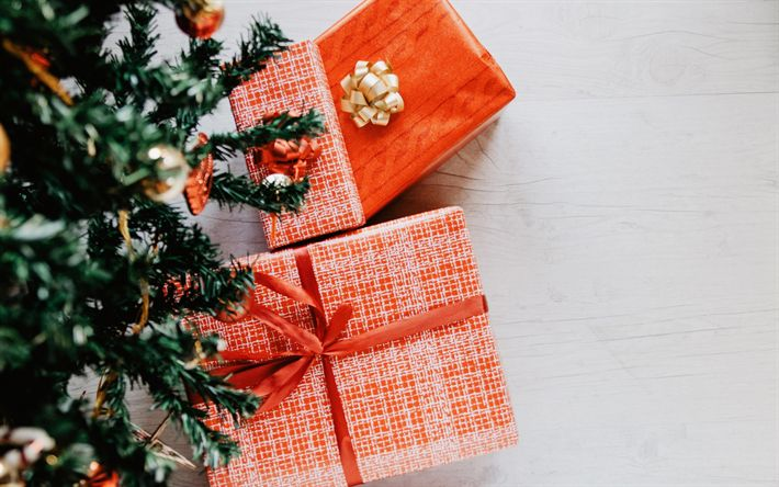 Download wallpapers Christmas tree, present, New Year, gift boxes, Christmas, New Year balls