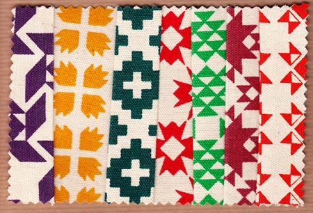 Sarah Renwick: interestingly works witn these geometric knit motifs as I have done all term for our university project.  Like Sarah, I have handscreenprinted geometric motifs that I drew digitally (after also drawing by hand).  My inspirations arose from Nordic and Fair Isle knit patterns.  Sarah must have looked at these too as well as Christmas patterns.  Eerie!