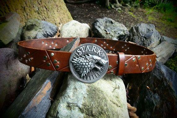 game of thrones Stark leather belt by PocillatorWorkshop on Etsy