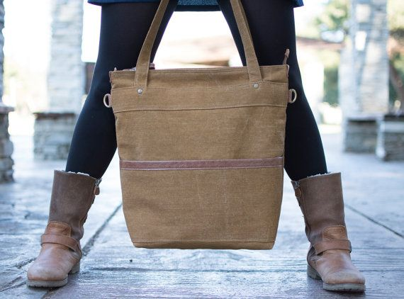 Waxed canvas tote - Waxed canvas bag -leather canvas laptop bag - Brown canvas tote bag -  LARYS