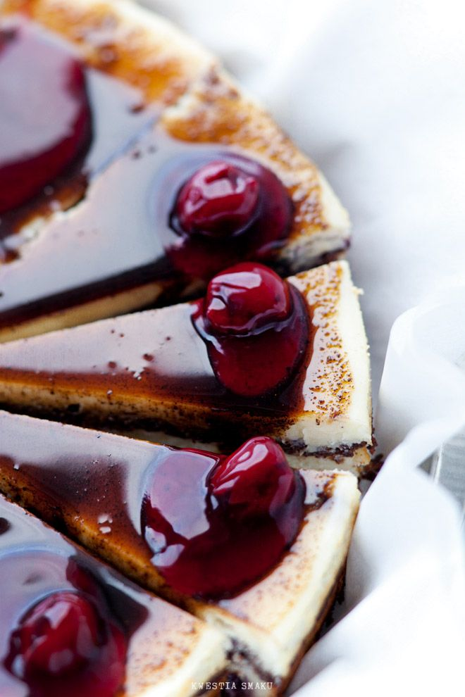 poppyseed cheese cake with white and dark chocolate, blackcurrant jam, and coffee syrup