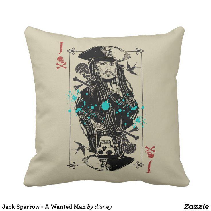 Jack Sparrow - A Wanted Man. Producto disponible en tienda Zazzle. Decoración para el hogar. Product available in Zazzle store. Home decoration. Regalos, Gifts. #cojín #pillows