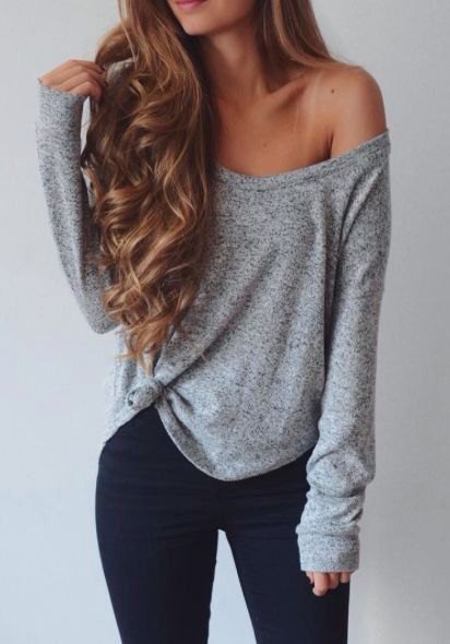 Women's fashion | Off the shoulder grey sweater with skinnies