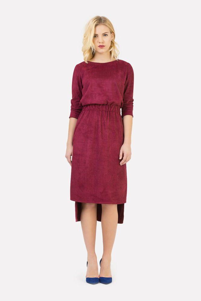 Замшевое платье винное