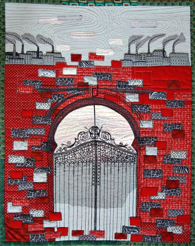 """Bozena Wojtaszek """"Poznanski's Gate"""", art quilt"""