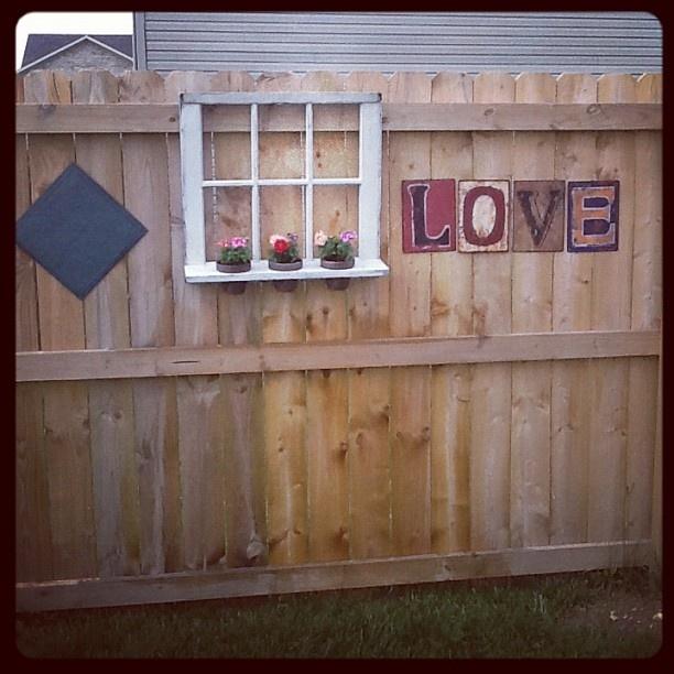 Inside my fence, window is garage sale find
