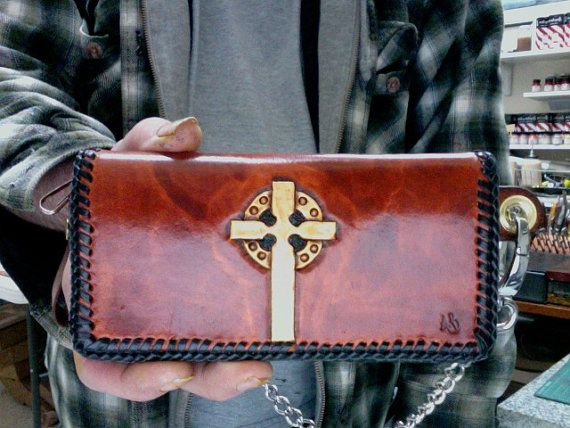 Wallet / Biker / Trucker / Leather Wallet / Hand Carved and Tooled / Celtic / Tribal / Leather Wallet