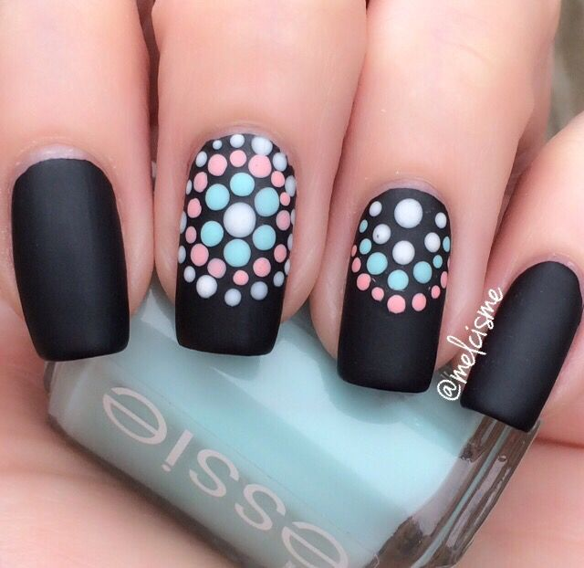 868 best simple nail art design ideas images on pinterest black nail polish have always been fun to work with so add some personality to your matte black nails by adding dots in lighter colors prinsesfo Images