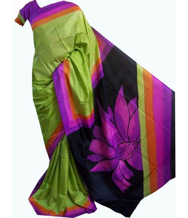 Green Handpainted Murshidabad Silk Saree