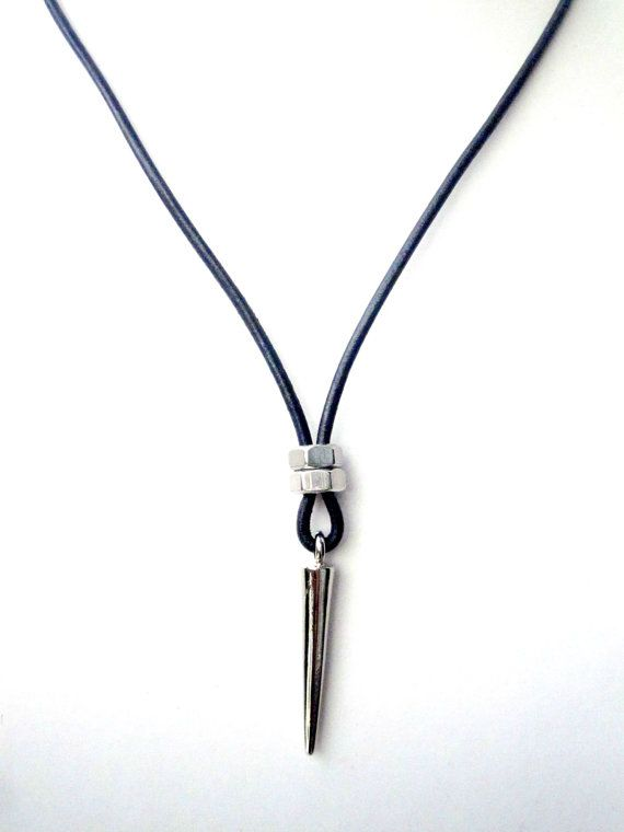 Mens Necklace w/ Spike Pendant Mens Leather by pearlatplay on Etsy