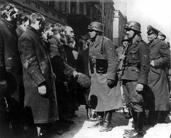 Warsaw, Poland, The arrest of leaders of the Jewish community during the Warsaw Ghetto Uprising. None survived.
