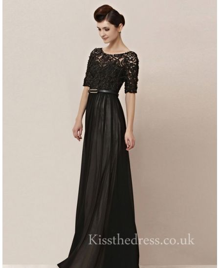 Black Chiffon Long Prom Dress With Half Lace Sleeves For Mother CYH30155 - Kissthedress.co.uk
