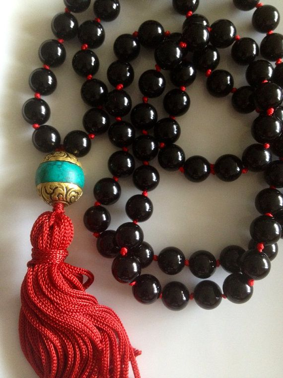 Sleek Black Onyx Tassel Necklace with TiBETAN Bead accent #socool #onEtsy, $60.00 Click for more photos. www.theArtsyNomad.etsy.com