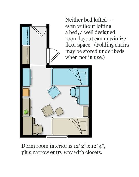 Dorm room layout (V2) that maximizes floor space, without lofting either bed.