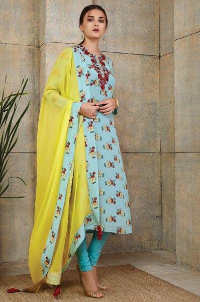 Payal Singhal Blue Straight Cut Party Wear Designer Salwar Kameez