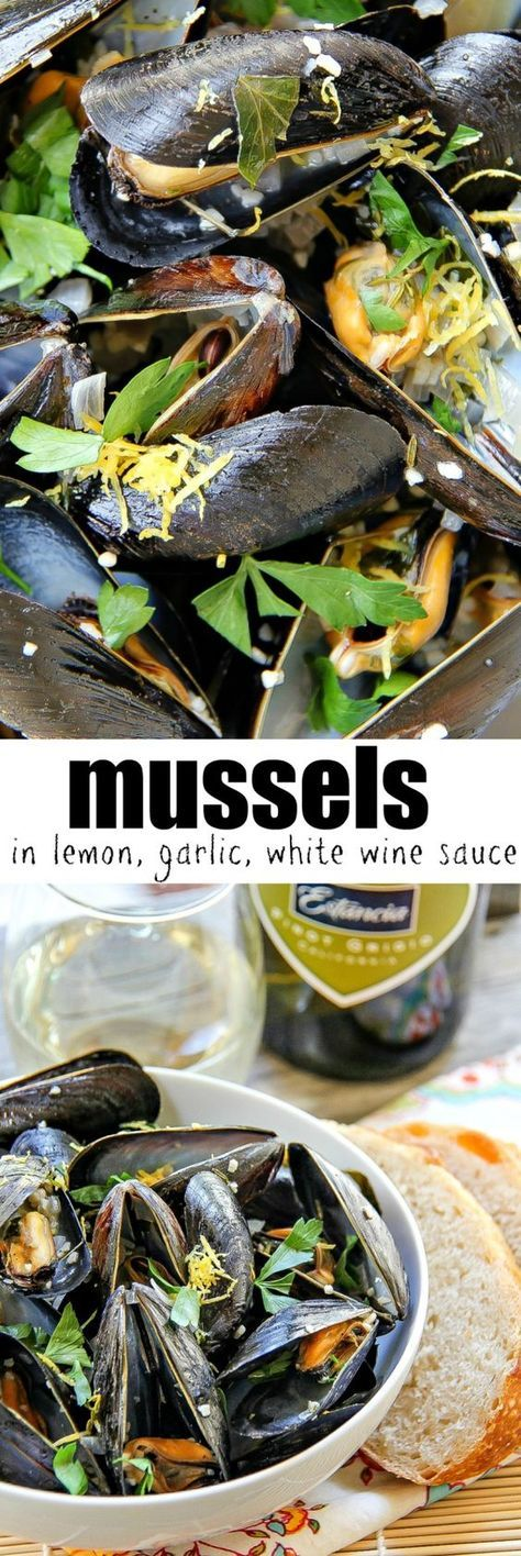 Mussels in a lemon and garlic white wine sauce. The perfect dish inspired by the sea. #ArtOfEntertaining #ad