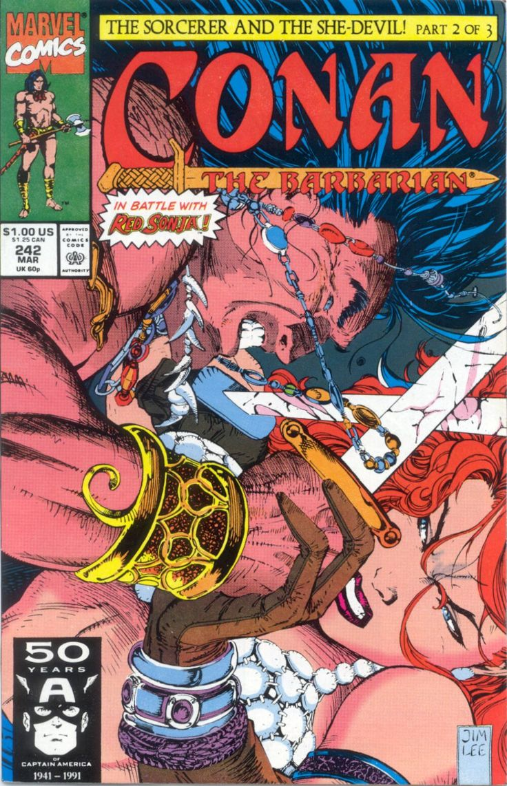 Conan the Barbarian No.242 (March 1991) - Cover by Jim Lee