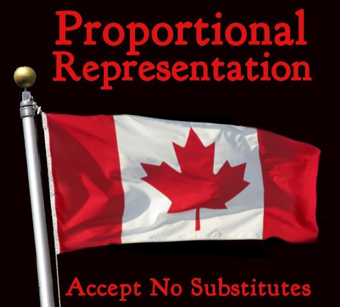 """Proportional Representation is needed to enable better representation of Canadians in Parliament.  My series of articles as well as many resources can be found here"""" https://whoacanada.wordpress.com/pr-4-canada-resources/"""