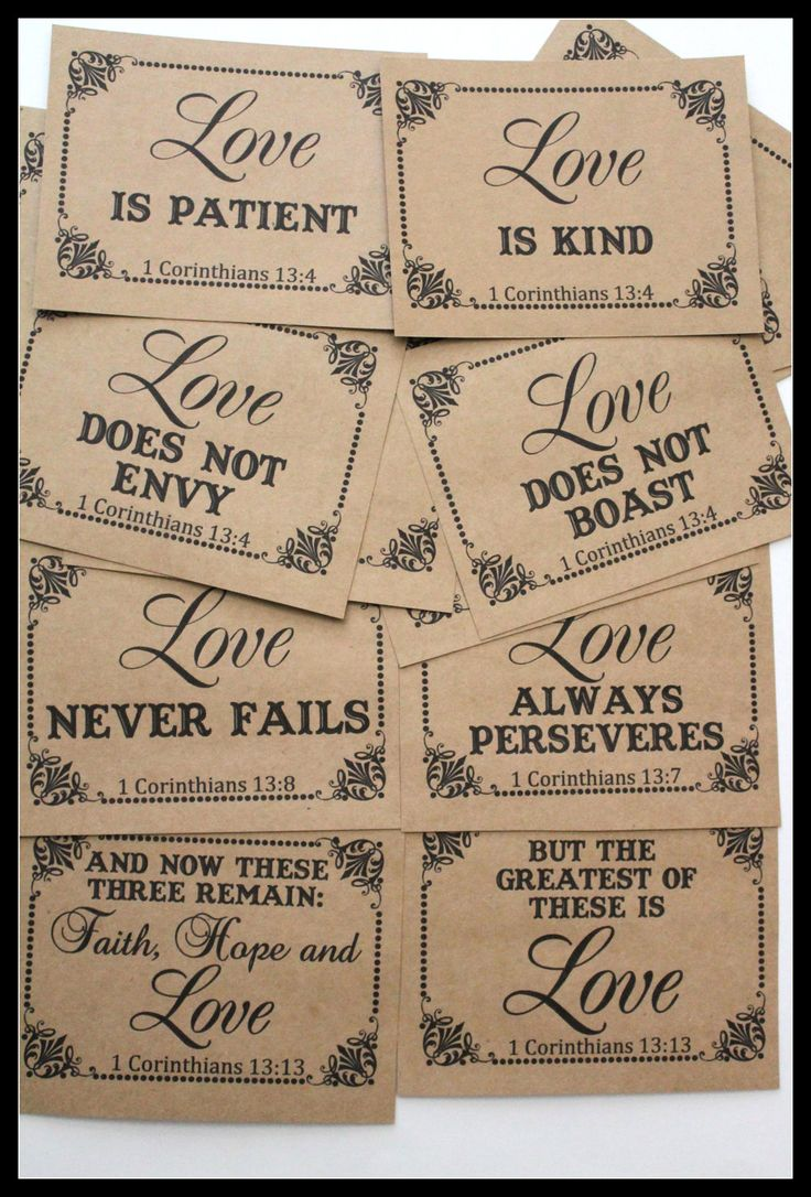 1 Corinthians 13: 4-8 & 13- Bible Phrases/ Christian/ Religious/ LOVE IS Wedding Table Numbers on Kraft Paper- Set of 18. $20.70, via Etsy.