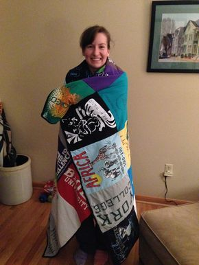 "t-shirt quilt-but this is a ""for dummies guide"" we could follow this same process with our homemade squares"