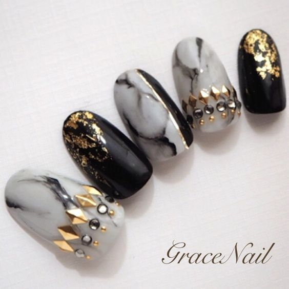 Black Gold and Marble Nails