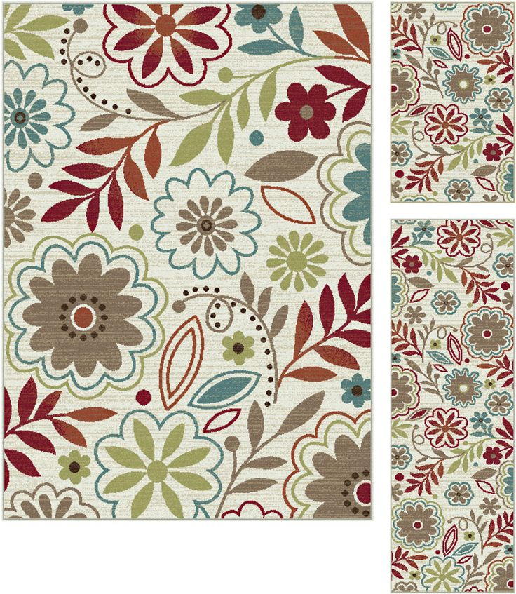 Add flair to a room with this blossoming transitional area rug. A captivating pattern of botanicals in delightful colors to enhance a number of design styles.  Snowy ivory background with cranberry red, teal blue, pear green, ecru gold, mushroom taupe, espresso brown, and russet. Options include rounds and a three piece set for a coordinated look throughout the home. Machine made of soft polypropylene that is naturally stain-resistant and easy to maintain.