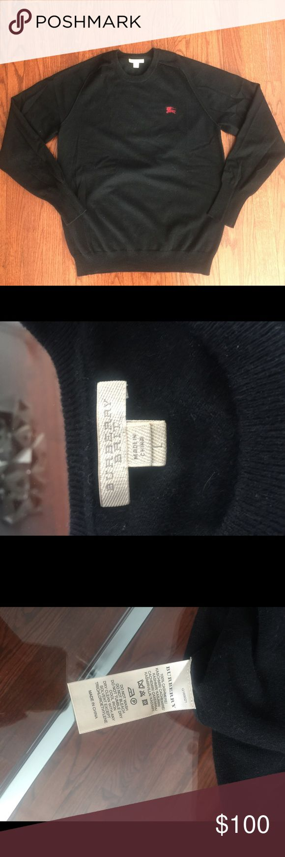 Men's Burberry Brit Cashmere sweater Men's Burberry Brit Cashmere sweater.  Husband got it for Xmas  ripped all tags off and then realized it didn't fit. It is a size L but runs small. Fits more like a Med.  Photographed all of the labels and logos let me know if you have any questions Burberry Sweaters Crewneck