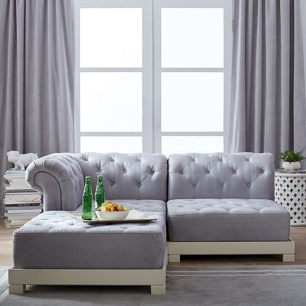 PB Teen Roll Arm Cushy Sectional, Sectional Set, Gray at Pottery Barn... ($825) ❤ liked on Polyvore featuring home, furniture, sofas, gray tufted sofa, grey tufted couch, grey sofa, grey tufted sofa and gray sofa