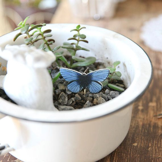 Blue Vintage Butterfly Plant Décor / plant by PastelToppers