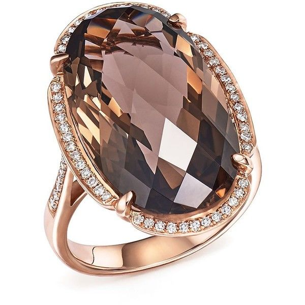 Smoky Quartz Oval and Diamond Ring in 14K Rose Gold ($2,305) ❤ liked on Polyvore featuring jewelry, rings, rose gld, pink gold rings, 14 karat gold ring, smoky quartz ring, smokey quartz ring and 14k diamond ring